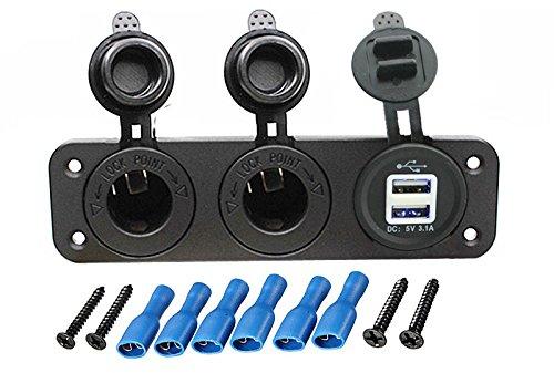 carviya Auto Motorrad 12V-24V Dual Loch Zigarettenanzünder Netzteil Adapter Dual USB Ladegerät Sockel Panel Teller Mount Auslass