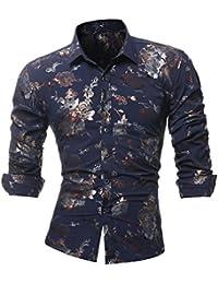 3317842186a1a Camisas De Hombre Manga Larga Flores Camisas Hombre Estampadas ❤️AIMEE7  Camiseta Estampada De Manga Larga
