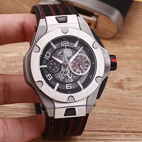 WDXDP Uhr Luxury Herrenuhren Edelstahl Rose Gold Silber Schwarz Red Line Leder Braun Luminous Chronograph Sapphire Watch Silber Schwarz - Watch Gold Red