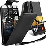 ( Black ) HTC One M7 Premium Faux Kredit / Debit-Karten-Slot Leder Flip Case Hülle & LCD-Display Schutzfolie & Aluminium In-Ear-Ohrhörer Stereo-Ohrhörer mit Hands Free Mic & On-Off-Taste Einbau by Fone-Case