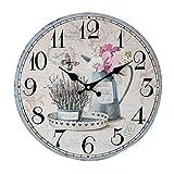 YOUJIA Vintage Pendules murales Rétro Classique Rond Horloge en Bois pour Chambre, Cuisine, Bureau, Maison décoration (Flower, 35cm)