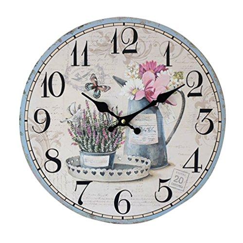 YOUJIA Reloj redondo de pared, Vintage Reloj de Madera para Sala de Estar, Habitaciones, Cocina, Hogar Décor (Flor, 35cm)
