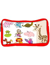 Snoogg Eco Friendly Canvas Set Of Animal With Background Student Pen Pencil Case Coin Purse Pouch Cosmetic Makeup...