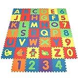INTEY- Alfombra Infantil Puzzle para Niños 101PCS(40 Mat) Espuma Letras Y Números Infantil Juego Alfombrillas 32cmx32cm Alfombra Puzle Protección para El Piso, Protección Pequeños Mat (con 7 Colores)