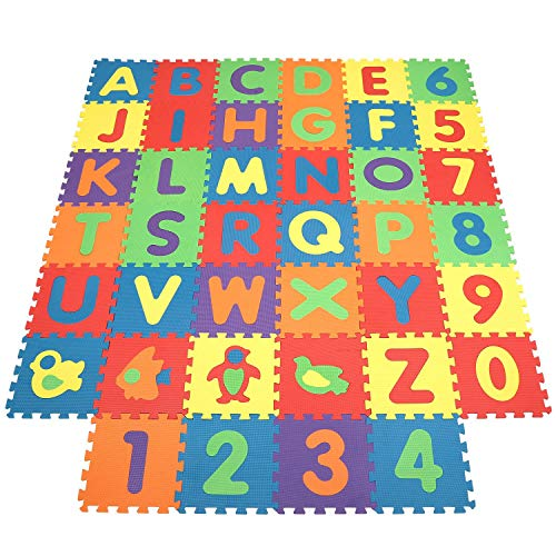 INTEY Tappeto Puzzle Bambini - 32×32 cm - 40 Pezzi Tappetini per Neonati con Certificato CE, Schiuma Eva Atossica, Lettere Numeri Animali Rimovibili, Tappeto Gioco Puzzle Come Regalo