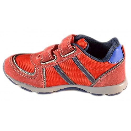 Naturino - Naturino Scarpe Bambino Rosse Acciaio Blu Pelle Tela Strappi Velcro Sport 366 9104 Rosso