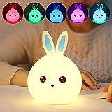 Kleinkind Nachtlicht, niedliche Osterhase Kaninchen Stand Lampe, weiche Silikon-Nachtlampe Multicolor, Tap-Steuerung