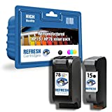 Refresh Cartridges Lot de 2 cartouches reconditionnées HP 15/HP 78 pour imprimantes...