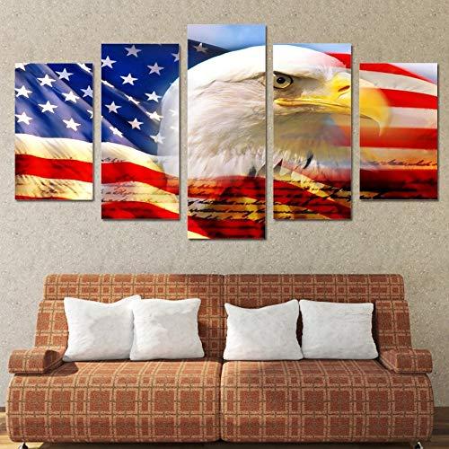 mmwin Leinwand Wandkunst Poster HD Drucke 5 Panel Tier Adler Flagge USA Modulare Bilder Für Wohnzimmer Wohnkultur