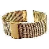 22mm Metall-Uhrenarmband Gold für Herren Edelstahlgewebe Uhrband Ersatz