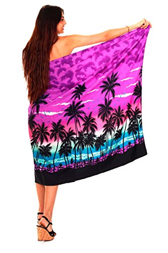Funky Hawaii Sarong | Pareo Cover-Up | Einheitsgröße | Damen | Strand Palmen Meer | Multiple Farben Violett