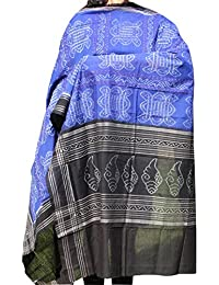 Indo Mood | Exclusive Hand Spun, Hand Woven Pure Cotton Sambalpuri Ikat Blue & Black Dupatta