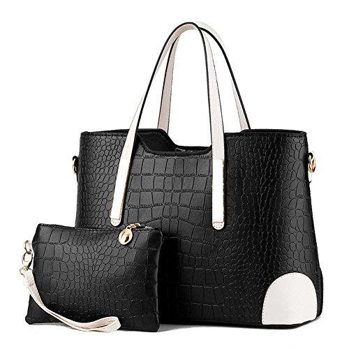 fanhappygo Fashion Bannfarbe Retro Leder Süßigkeiten Abendtaschen Damen Schulterbeutel Umhängetaschen schwarz