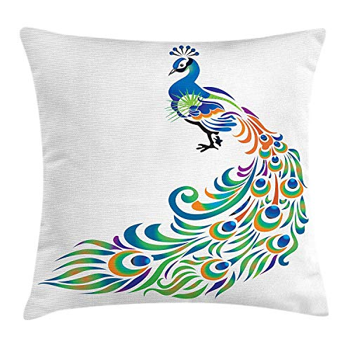 VTXWL Peacock Throw Pillow Cushion Cover, Abstract Peacock Tail Design with Swirls and Oval Shapes South Asian Native Bird, Decorative Square Accent Pillow Case, 18 X 18 inches, Multicolor