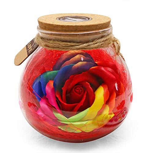 Leobtain LED RGB Dimmer Lámpara Luz Nocturna Lindo Cambio de Color Control Remoto Creativo Romántico Rosa Botella Aniversario de Boda Amor para Siempre Regalo