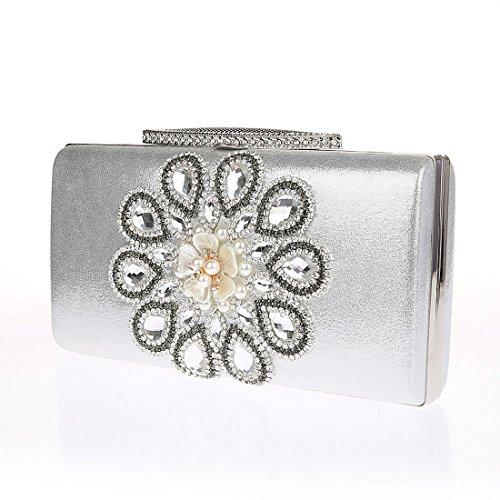 KAXIDY Luxus Damentasche Clutch Handtasche Abendtasche Satin Brauttasche mit Strass Silber