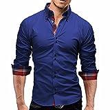 Camisa Hombre, Manadlian Camisas de Cuadros de Hombres Camisetas de Manga Larga Negocio Slim Fit (L, Azul)