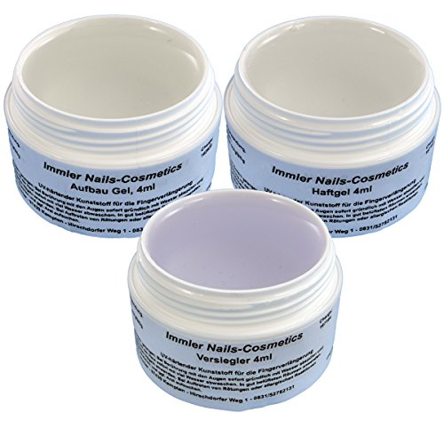 12 ml UV-Gel Set Haft / Aufbau / Versiegelung 3 x 4 ml