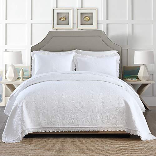 BettüBerwurf Weiß Bestickte Tagesdecke (240 * 260 cm) Mit 2 KissenbezüGen, FüR Doppelbett, Hand-Blockdruck,Waschbare Sommer-Bettdecke Aus Spitze,White,240 * 260cm -