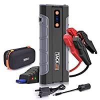 Jump Starter, Tacklife T8 MAX 1000 Amp 12V UltraSafe Car Battery Booster, 20000mAh Battery Power Pack (All Gas or 6.0L Diesel) with 3 Output Ports 12V/10A and Dual QC3.0 USB / Flat Pack Semi-Rigid Handheld 900 Lumens Flashlight / Cigarette Adapter, Smart