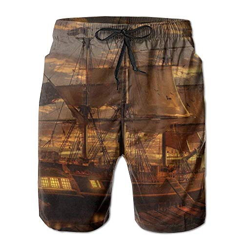 Ghost Pirate Ship Men's Swim Trunks Printed Surf Board Shorts Beach Pant Sportswear Small - Pirate Low Cut