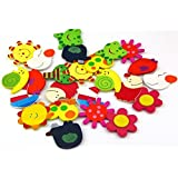 Kuhu Creations® Supreme Fridge Magnet Wooden Stickers In Vivid Color Cute And Beautiful. (Vivid Color Thin Shapes 24 Pcs)