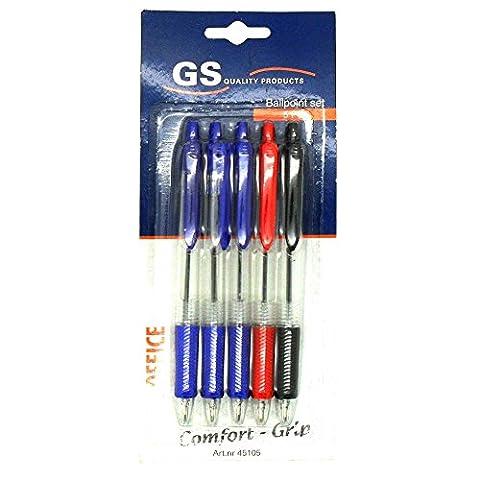 5x GS Intl Office Line Comfort Grip Ballpoint Pen Set 3x Blue 1x Red 1x Black