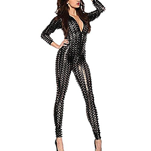 Wonder Pretty Damen Catsuit Schwarz Leder Jumpsuit Overall Catwoman Kostüme Latex Wetlook Sexy Dessous Ouvert Body Clubwear XXL