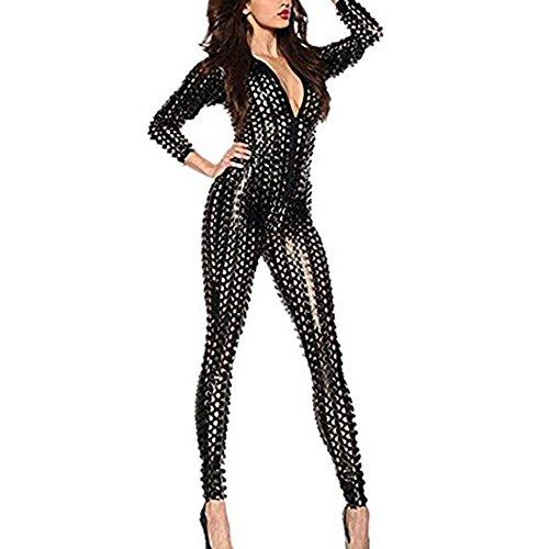 Wonder Pretty Damen Catsuit Catwoman Kostüme Jumpsuits Overall PVC Wet Look Leder Clubwear Kleid Bodysuit Mit Loch und Reißverschluss