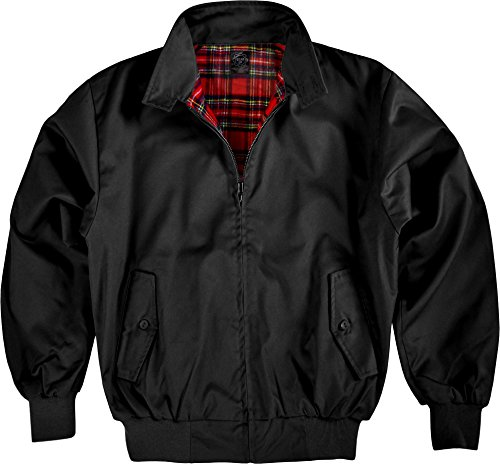 Herren-usa-bomber-jacke (Original GearUp® Harrington Jacke English Style in 12 verschiedenen Designs wählbar Farbe Schwarz Größe M)