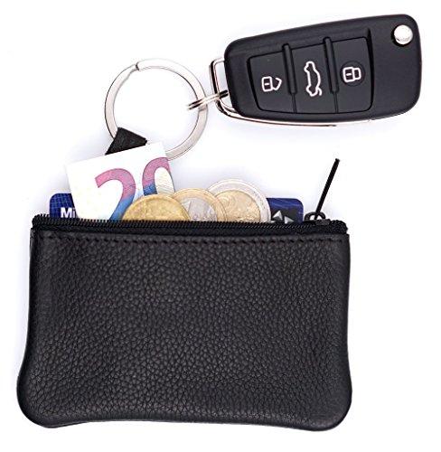 Echt Leder Schlüsseltasche Schwarz, 1 Fach, Schlüsseletui für Schlüsselbund und Autoschlüssel, Schlüsselmäppchen für Damen & Herren