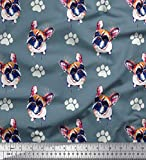 Soimoi Blau Baumwolle Ente Stoff Boston-Terrier Hund Stoff