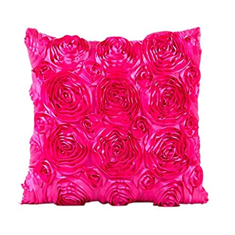 Indexp Rose Embroidery Throw Cushion Cover Sofa Home Decoration Pillow case (Hot Pink)