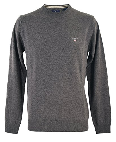 GANT 86211 95 Superfine Lambswool Crew Neck Pullover 100%lambswool ANTRACIT MELANGE GREY (L, ANTRACIT MELANGE GREY)