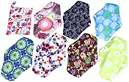 SUPVOX 1 Set Reusable Sanitary Pads Washable Bamboo Charcoal Cloth Menstrual Pads Sanitary Napkins with Pouch for Women Fema