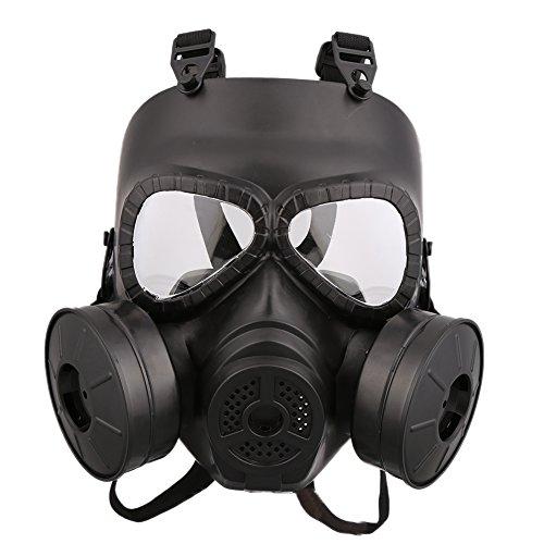 Wingbind Airsoft Paintball Maske Vollgesichts mit PC Objektiv Doppelfilter Verstellbare Strap Gasmaske für Cosplay Schutz Halloween Kostüme CS Staub Proof