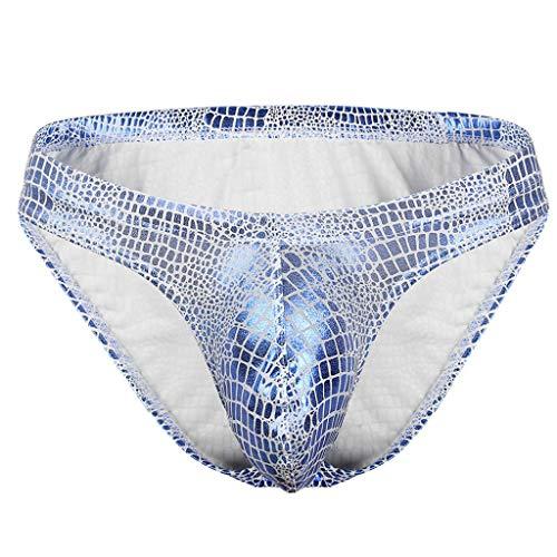 Hunpta@ Unterwäsche Herren Shorts,Low-Waist-Polyester-Serpentinen-Boxer in U-Form für Herren,Sportunterhosen für Herren(Blau)