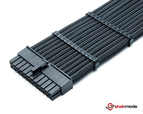 Shakmods 24pin ATX Motherboard 30cm Black Sleeved Extension 2 Cable Combs