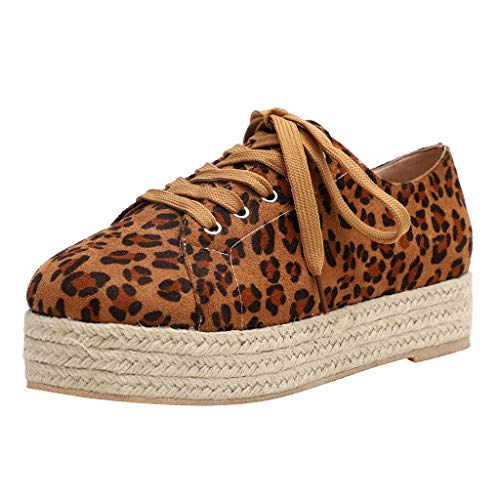 BURFLY Mode Damen Schuhe, Frauen Leopard Atmungsaktive Flache Unterseite Freizeitschuhe Roman Wilde Segeltuch Schuhe -