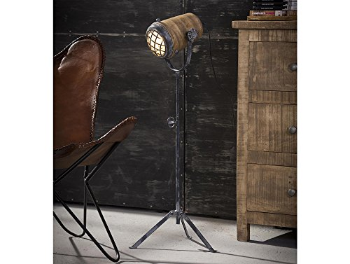 moebel-eins VALMIR Stehlampe Eisen/Mangoholz, 78-96 cm