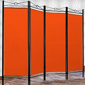 Deuba Paravent Lucca 180x163cm 4 Trennwände flexibel verstellbar Raumteiler Sichtschutz platzsparend & multifunktional anthrazit