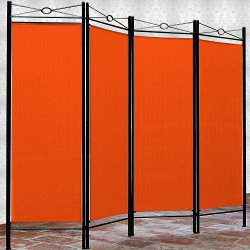 Deuba Paravent Lucca 180x163cm | 4 Trennwände flexibel verstellbar | Raumteiler Sichtschutz | platzsparend & multifunktional | orange