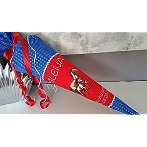 #50 Pferd Pferde Schultüte Stoff + Papprohling + als Kissen verwendbar, rot, blau