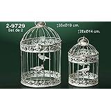 DonRegaloWeb - Set de 2 jaulas redondas de metal decoradas con pajaros en color blanco