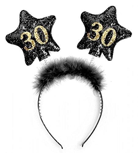 PartyDeco Haarreif mit Nummer 30, schwarz/gold -