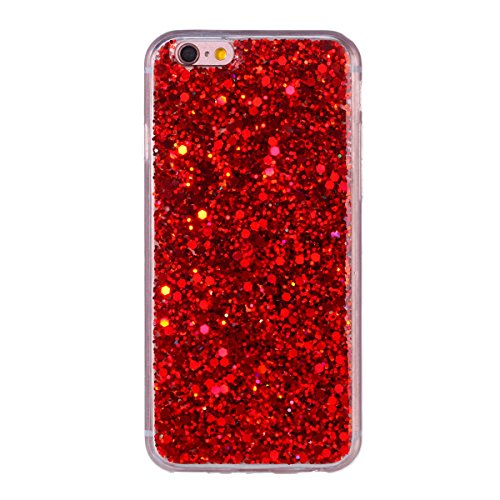 """MOONCASE iPhone 6/iPhone 6s Coque, Bling Glitter Doux TPU Étuis Case Ultra Slim Étanche aux Chocs Housse de Protection pour iPhone 6/iPhone 6s 4.7"""" Bleu Red"""