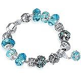 """A TE® Bracelet Charms Femmes """"Amour Romantique"""" Verre Bleu Cadeau #JW-B36"""