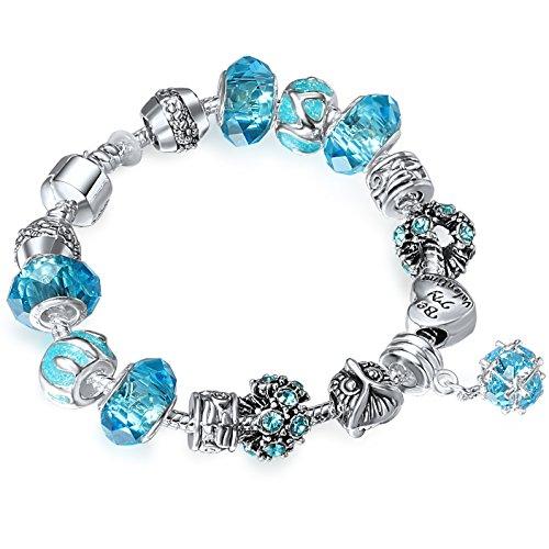A TE® Charm Pulsera Mujer Claro Azul Cristal Corazón y Buhó Con Letras Regalo Novia #JW-B36
