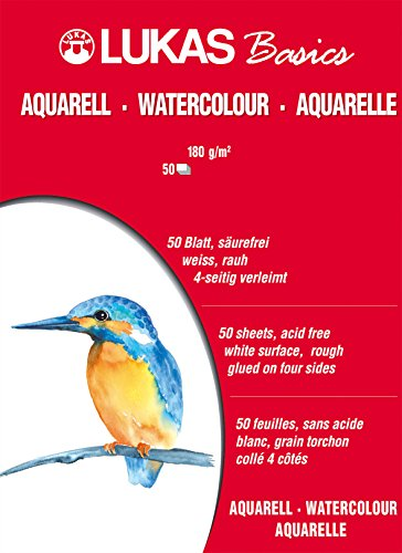 Lukas Basics Aquarellpapier, 30x40cm, 180g/m², 50 Blatt Block.