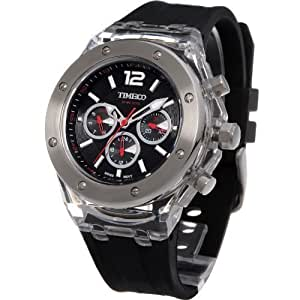 TIME100 Multifunction Silicone Black Strap Fashion Sport Couple Watch (For Men) #W70034G.01A